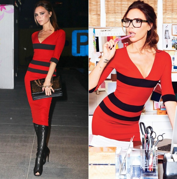 victoria-beckham-striped-v-neck-pencil-dress
